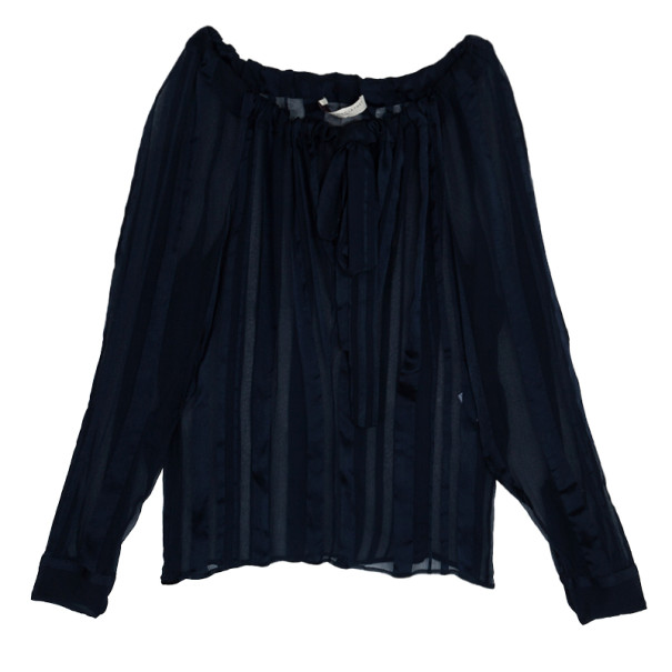 Stella McCartney Sheer Silk Drawstring Top S