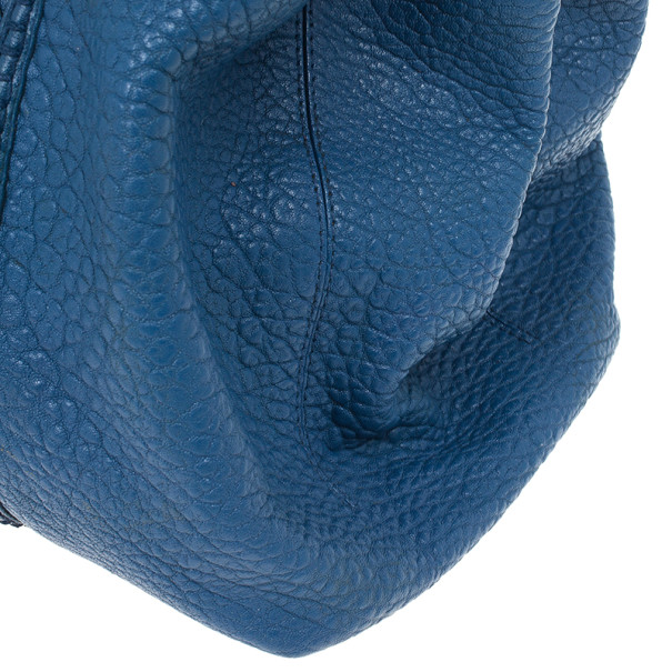 Bottega Veneta Blue Woven Nappa Leather Roma Bag