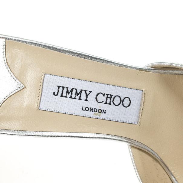 Jimmy Choo Silver Cutout Slides Size 37