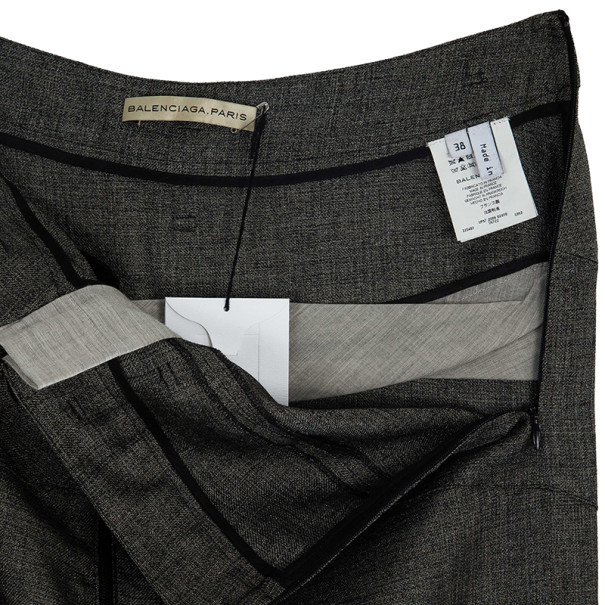Balenciaga Ruffle Hem Pencil Skirt M