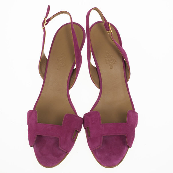 Hermes Pink Suede Night Slingback Sandals Size 37.5