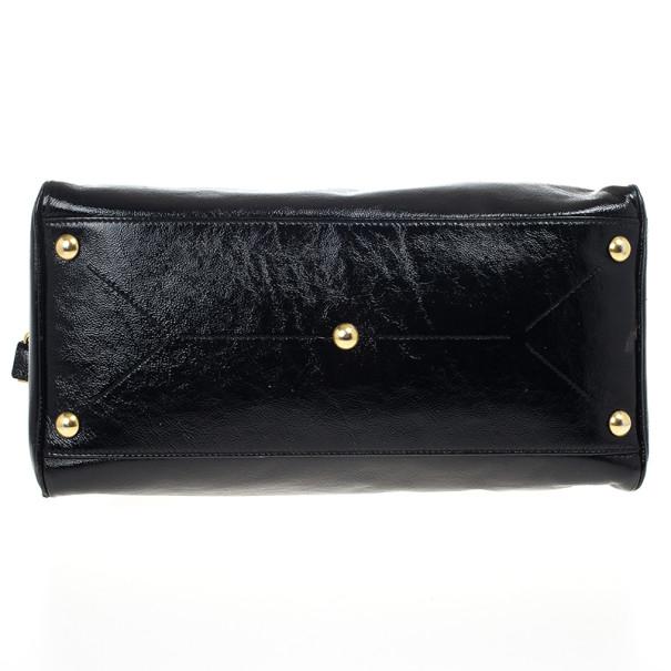 Yves Saint Laurent Black Patent Leather Majorelle Satchel Bag