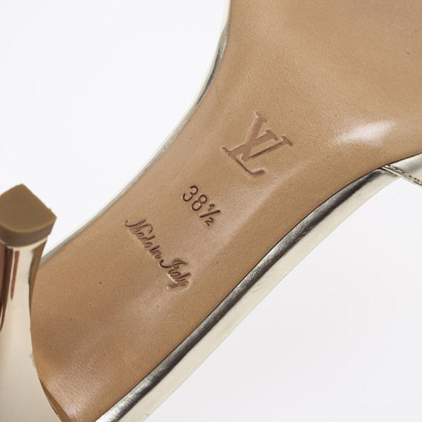 Louis Vuitton Gold Leather Strappy Mules Size 38.5