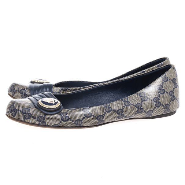 Gucci Navy Guccissima Crystal 'Hysteria' Flats Size 39