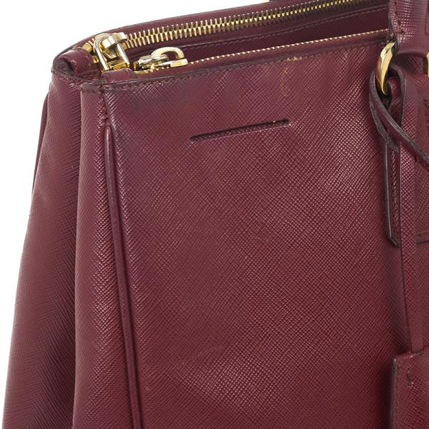 Prada Maroon Saffiano Lux Double-Zip Leather Tote
