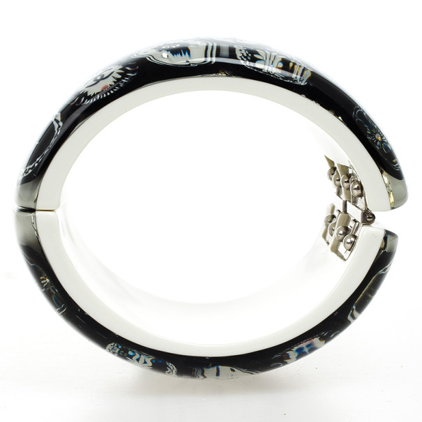 Chanel Black & White Camellia Crystal Cuff Bracelet