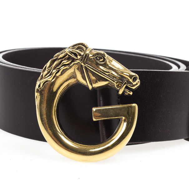 Gucci Brown Leather Horse Head G Buckle Belt 90 CM