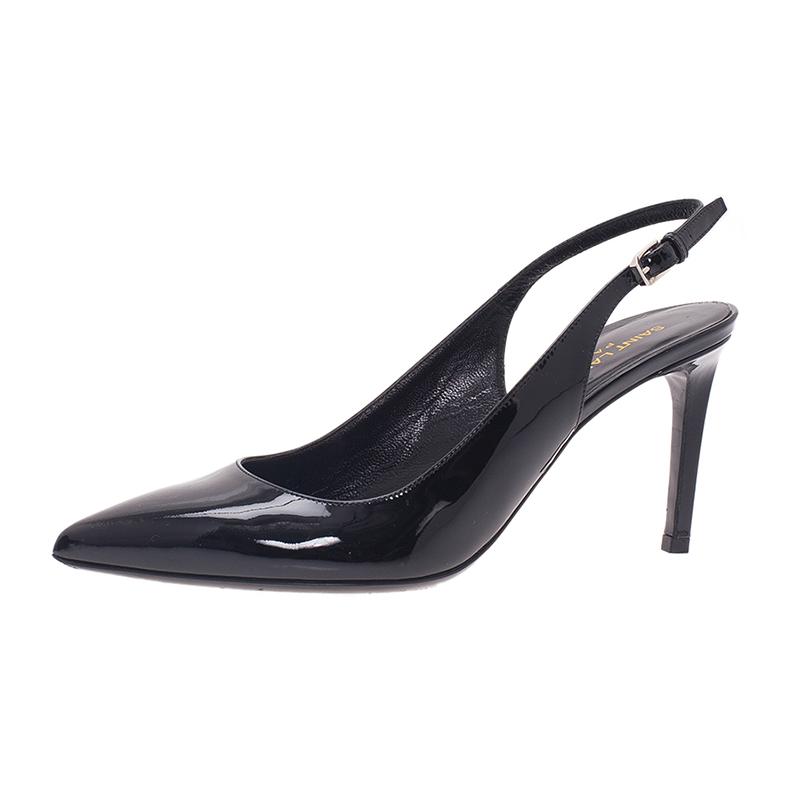 Saint Laurent Paris Black Patent Leather Pointed Toe Slingback Sandals Size 38.5