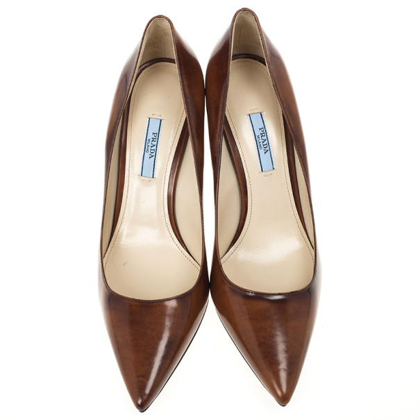 Prada Brown Leather Pointed Toe Pumps Size 40.5