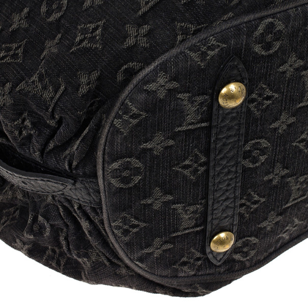 Louis Vuitton Black Denim Monogram Mahina Hobo L