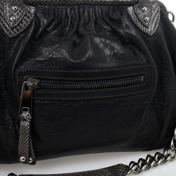 Marc Jacobs Black and Grey Python Trim Stam