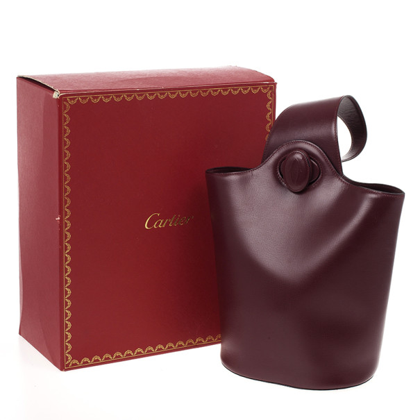 Cartier Maroon Leather Turnlock Sidepack