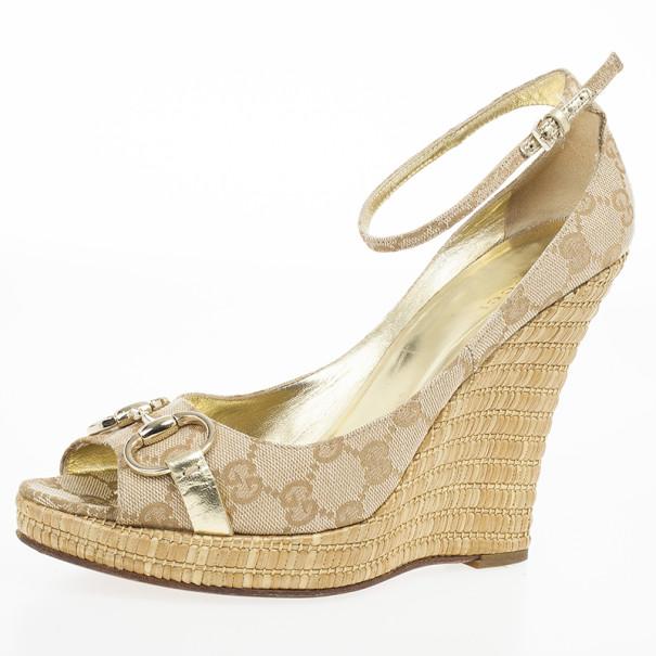Gucci Guccissima Canvas Horsebit Ankle Strap Espadrilles Wedges Size 39