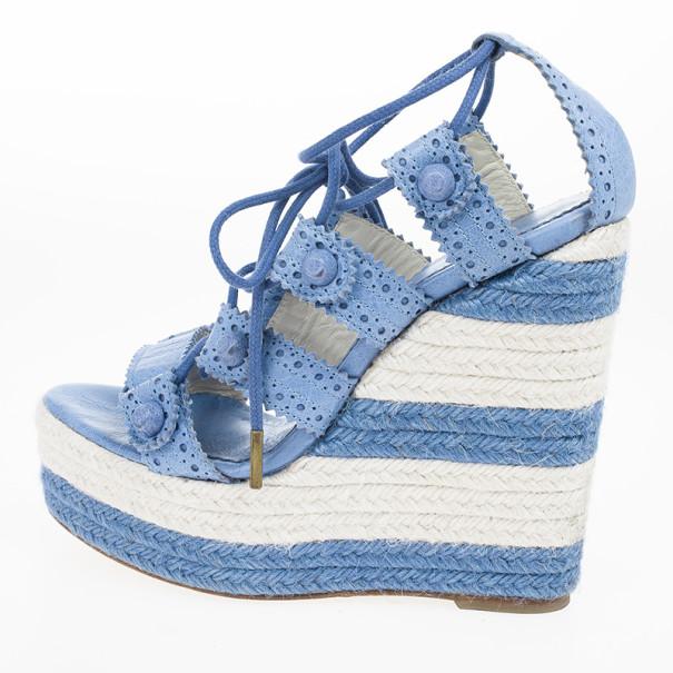 Balenciaga Blue Leather Lace-Up Espadrille Wedges Size 37