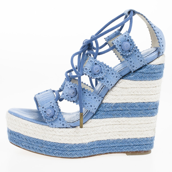 Balenciaga Blue Leather Lace-Up Espadrille Wedges Size 37