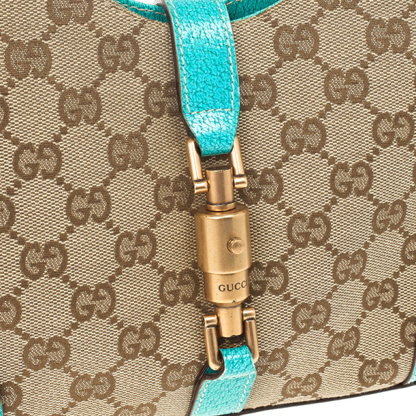 Gucci Beige GG Canvas and Turquoise Leather Bardot Bag