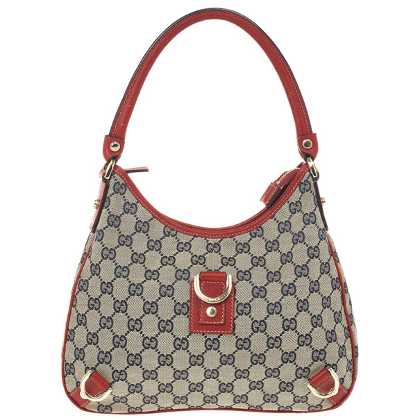 Gucci Navy Blue & Red Medium Abbey D-Ring Hobo