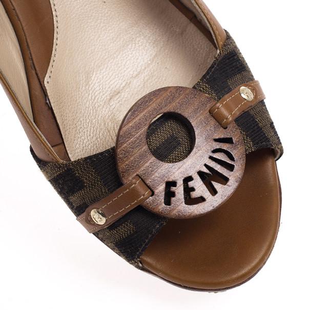 Fendi Tobacco Zucca and Leather Platform Slingback Wedges Size 38.5