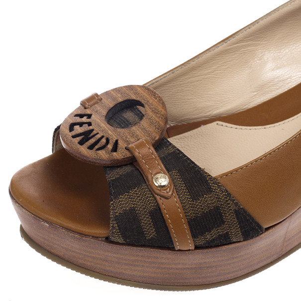 Fendi Tobacco Zucca and Leather Platform Slingback Wedges Size 38.5