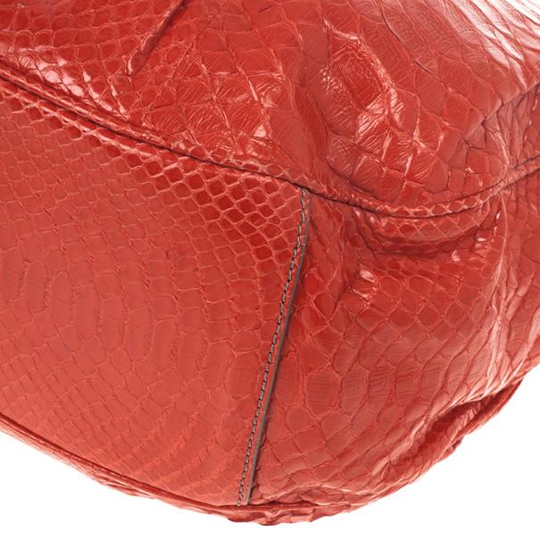 Zagliani Red Matte Python JJ Bag