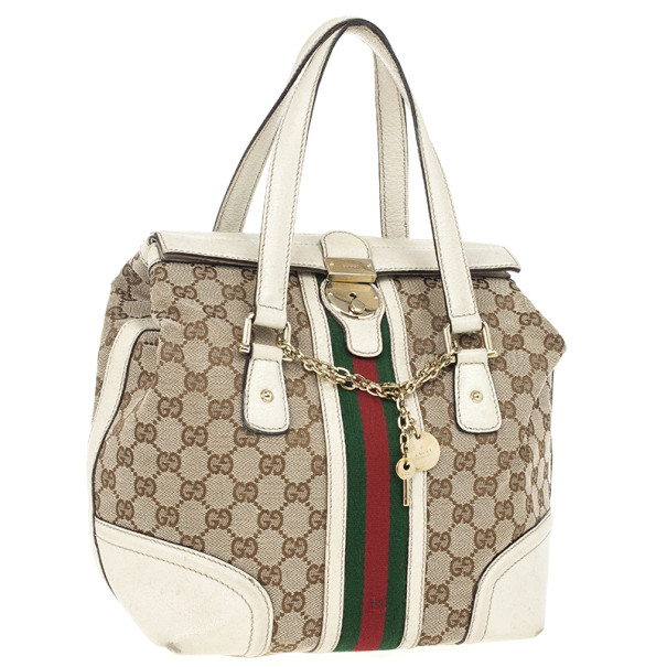Gucci Beige Monogram Treasure Boston Bag