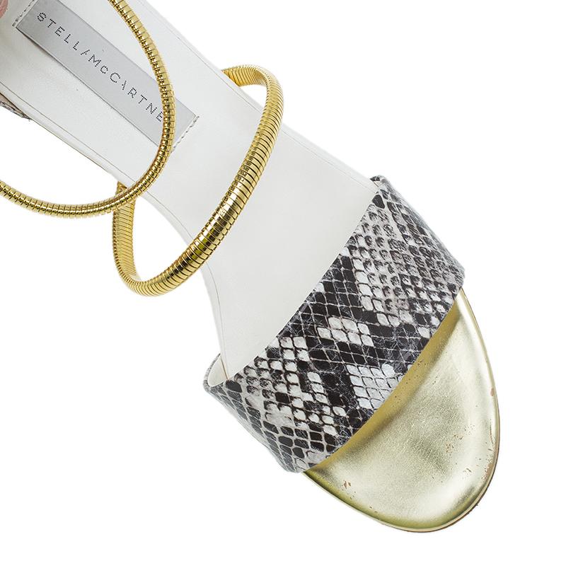 Stella McCartney Faux Python Chain Detail Flat Sandals Size 38.5