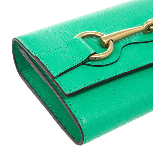 Gucci Seafoam Leather Continental Wallet With Horsebit