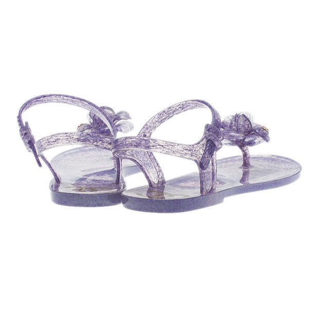 Chanel Purple Jelly Camellia Flower Sandals Size 40