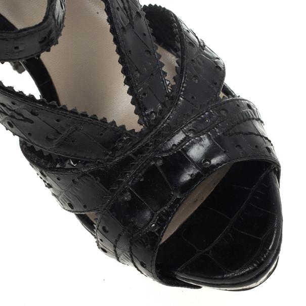 Dior Bonnie Stamped Croc Wedge Sandals Size 36