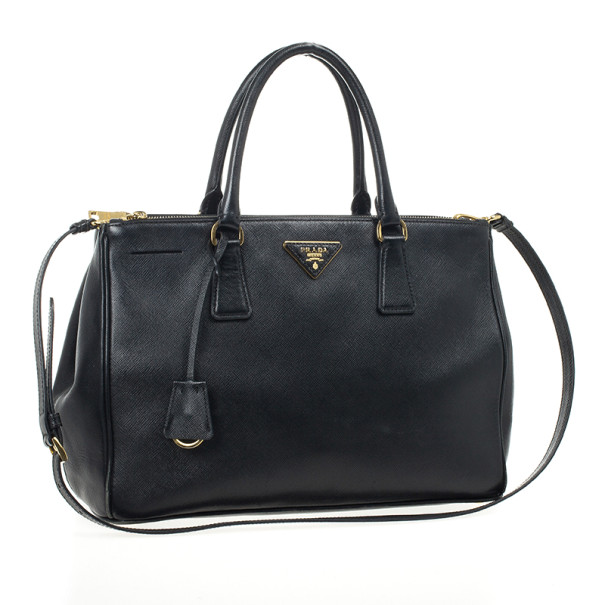 Prada Black Saffiano Lux Double-zip Tote Bag