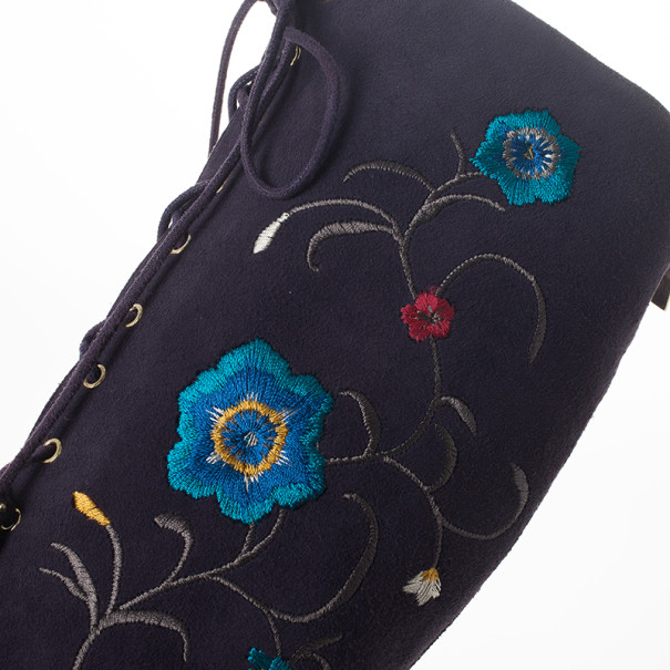 Jimmy Choo Purple Suede Floral Embroidered Colorado Knee Length Boots Size 37