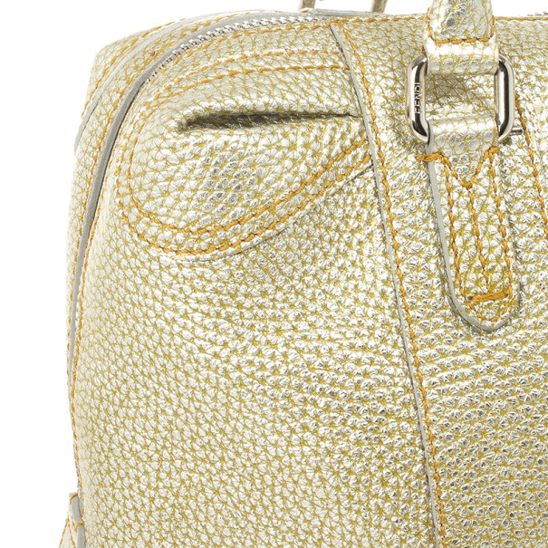 Fendi Gold Metallic Leather 'B.Mix' Large Bowler Bag