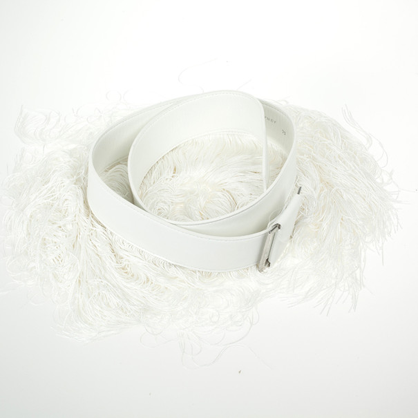 Stella McCartney Wide White Faux Leather and Fringe Belt Size 75 CM