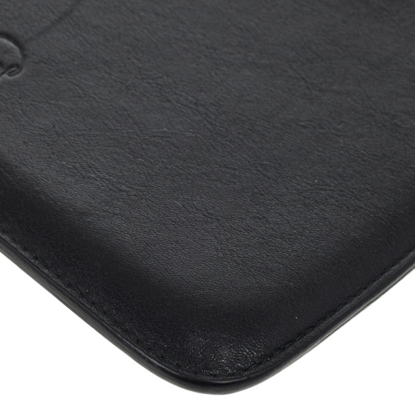 Alexander McQueen Black Leather Skull Embossed iPad Case