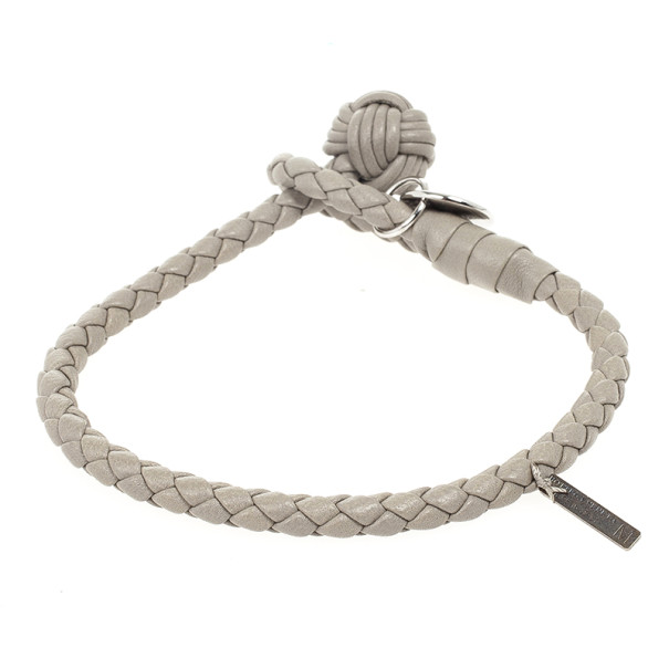 Bottega Veneta Beige Woven Intrecciato Leather Knot Bracelet 25 CM