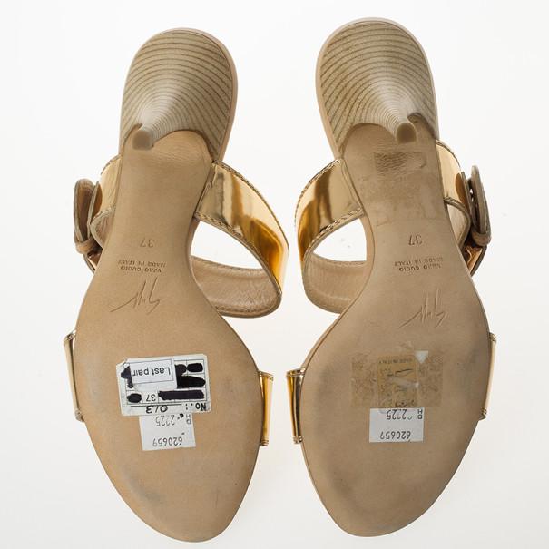 Giuseppe Zanotti Gold Leather Buckle Slides Size 37