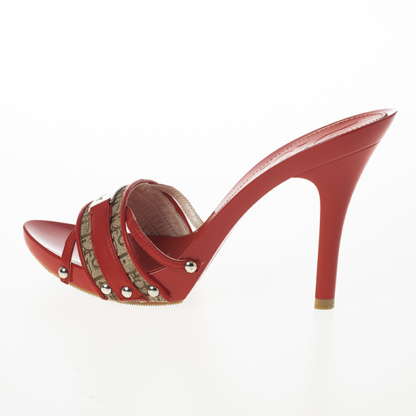 Christian Dior Red Monogram Slides Size 38.5