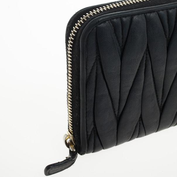 Miu Miu Black Matelasse Zip-Around Wallet