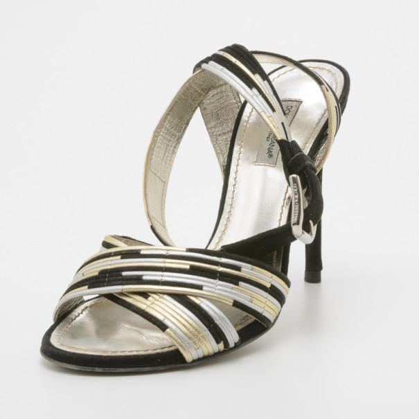 Dolce and Gabbana Metallic Ankle Wrap Sandals Size 36