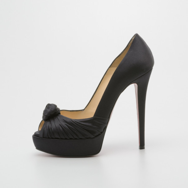 Christian Louboutin Black Satin Knotted Greissimo Platform Pumps Size 37