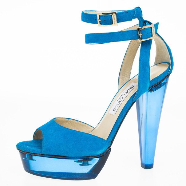 Jimmy Choo Blue Suede Ankle Strap Niagara Platform Sandals Size 39
