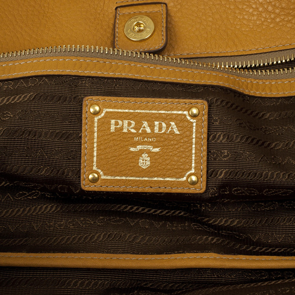 Prada Vitello Daino Shopping Ambra