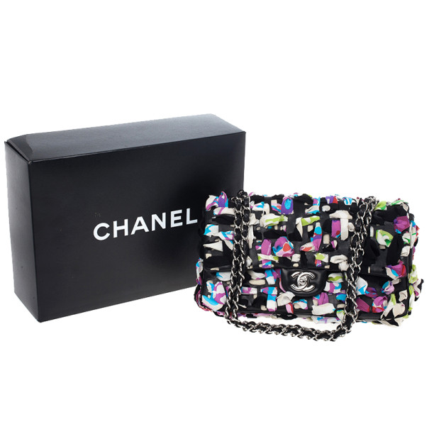 Chanel Limited Edition Scarf-Woven Lambskin Classic Flap Bag