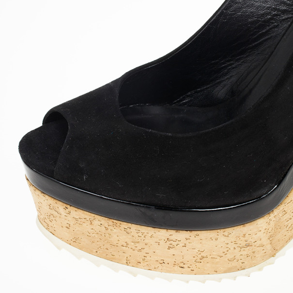 Gucci Black Suede Tattoo Collection UNICEF Slingback Wedge Sandals Size 38.5