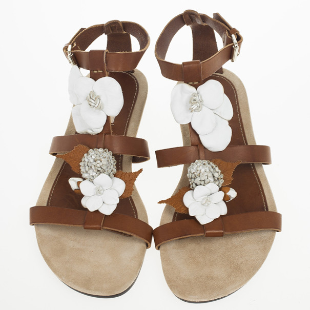 Valentino Brown Leather Flower And Leaf Sandals Size 39.5