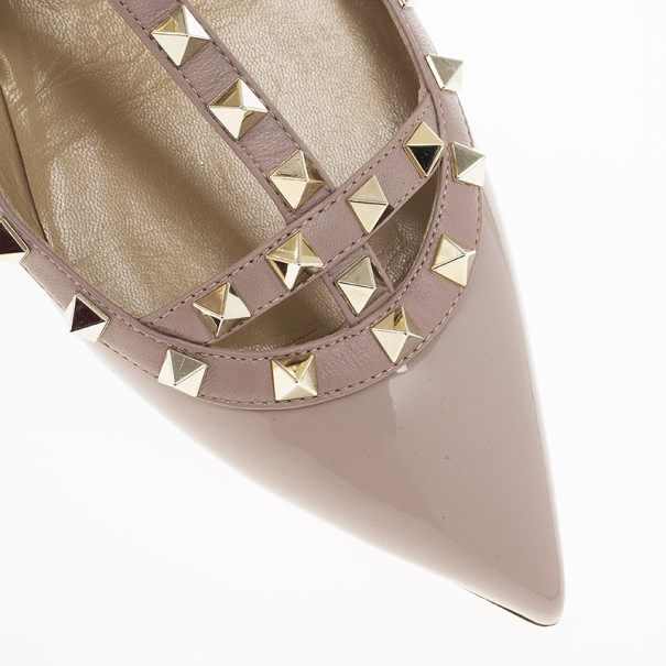 Valentino Nude Patent Rockstud Ballet Flats Size 41