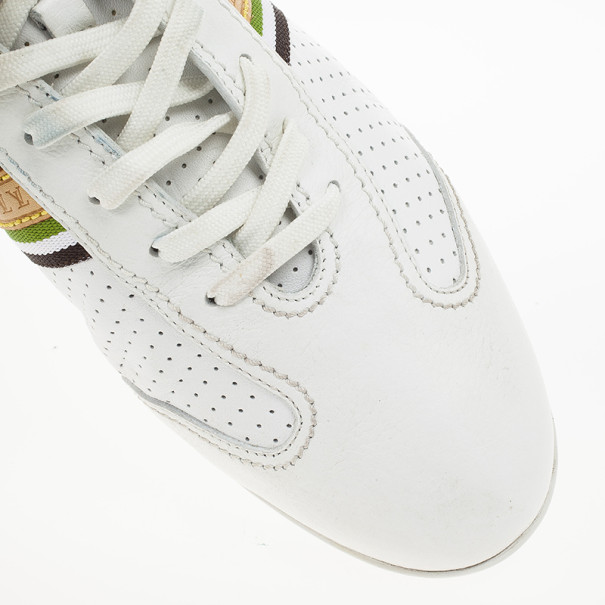 Louis Vuitton White Perforated Leather Bastia Sneakers Size 41
