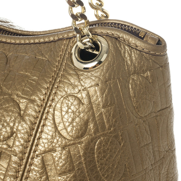 Carolina Herrera Monogram Embossed Dahlia Hobo