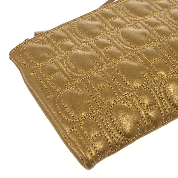 Carolina Herrera Monogram Embossed Clutch