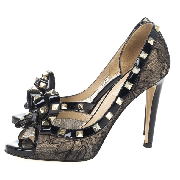 Valentino Rockstud Lace Bow D'orsay Pumps Size 37.5